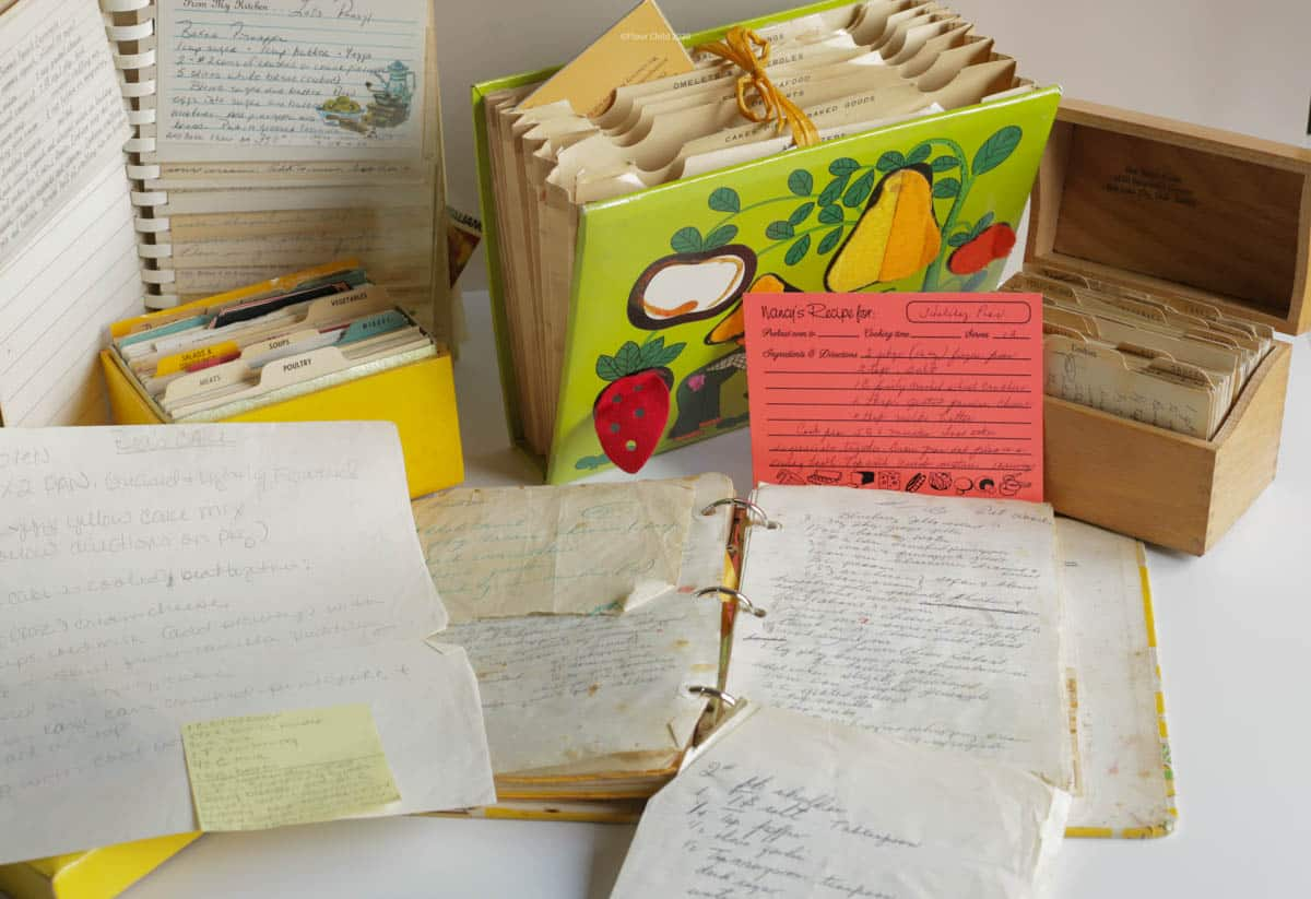 Collection of books and recipe boxes of mid-century handwritten recipes