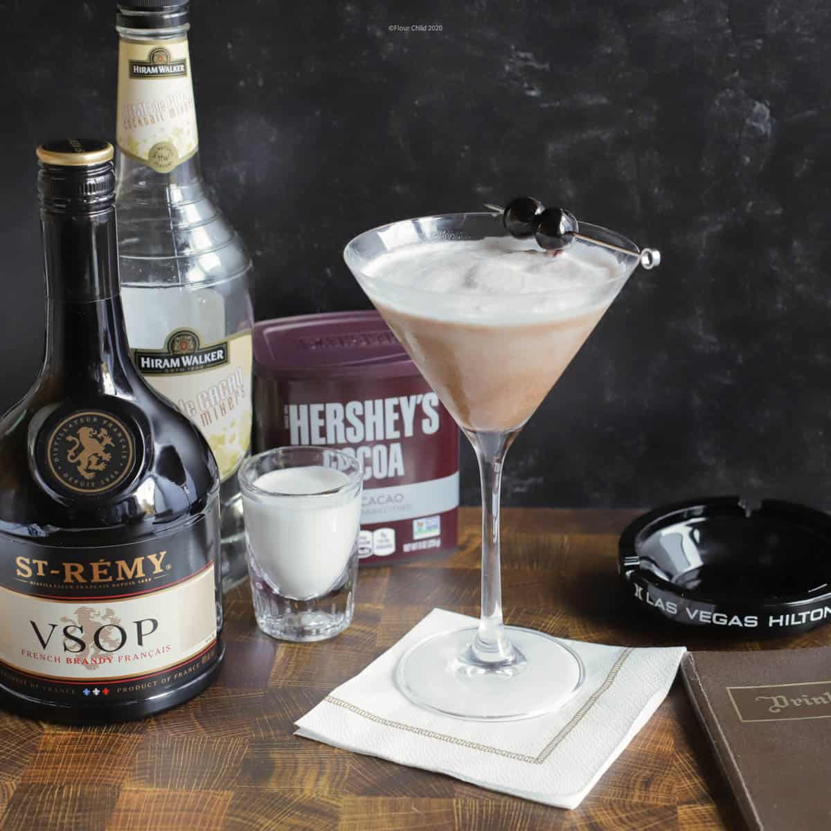 The Brandy Alexander is an easy to make chocolate flavored cocktail that is mixed with cream and Creme de Cacao liqueur. Blend it up instead of merely shaking and it is like drinking a milk shake.