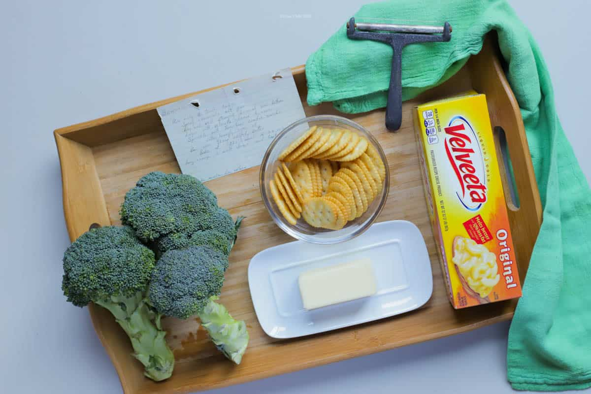 There are only a few ingredients needed for broccoli and cheese casserole. Use fresh broccoli, butter, crackers and Velveeta 'cheese' for a tasty side dish.