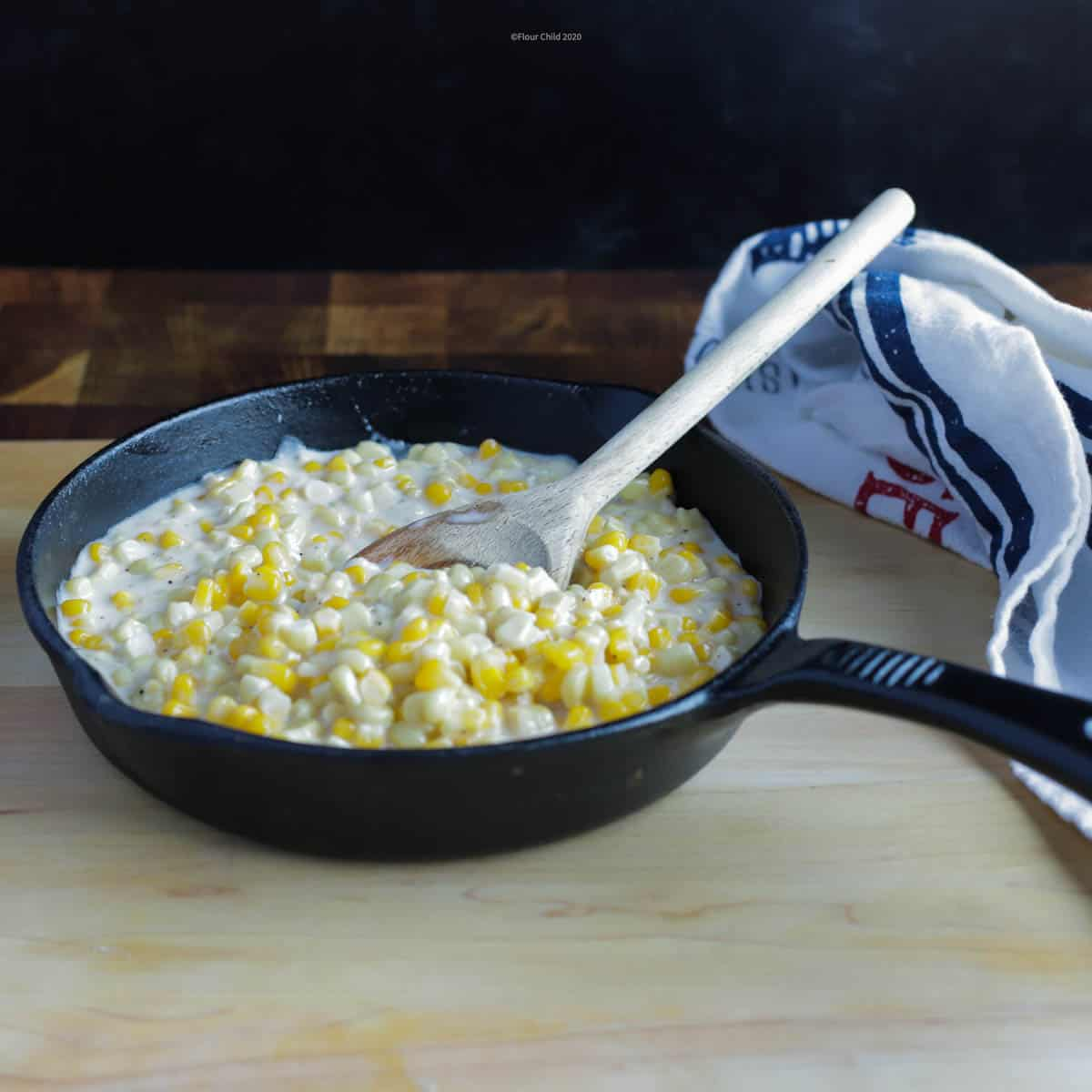 This southern sweet creamed corn recipe features both yellow and white corn for color variation in the dish.