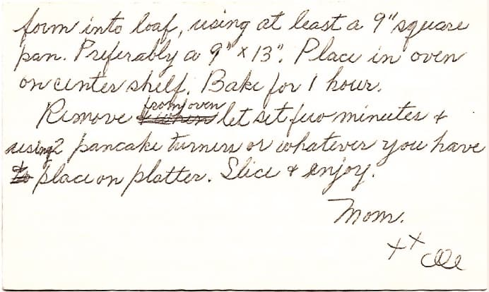 Meatloaf recipe on index card, page 2