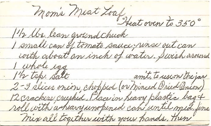 Handwritten meatloaf recipe on index card page 1