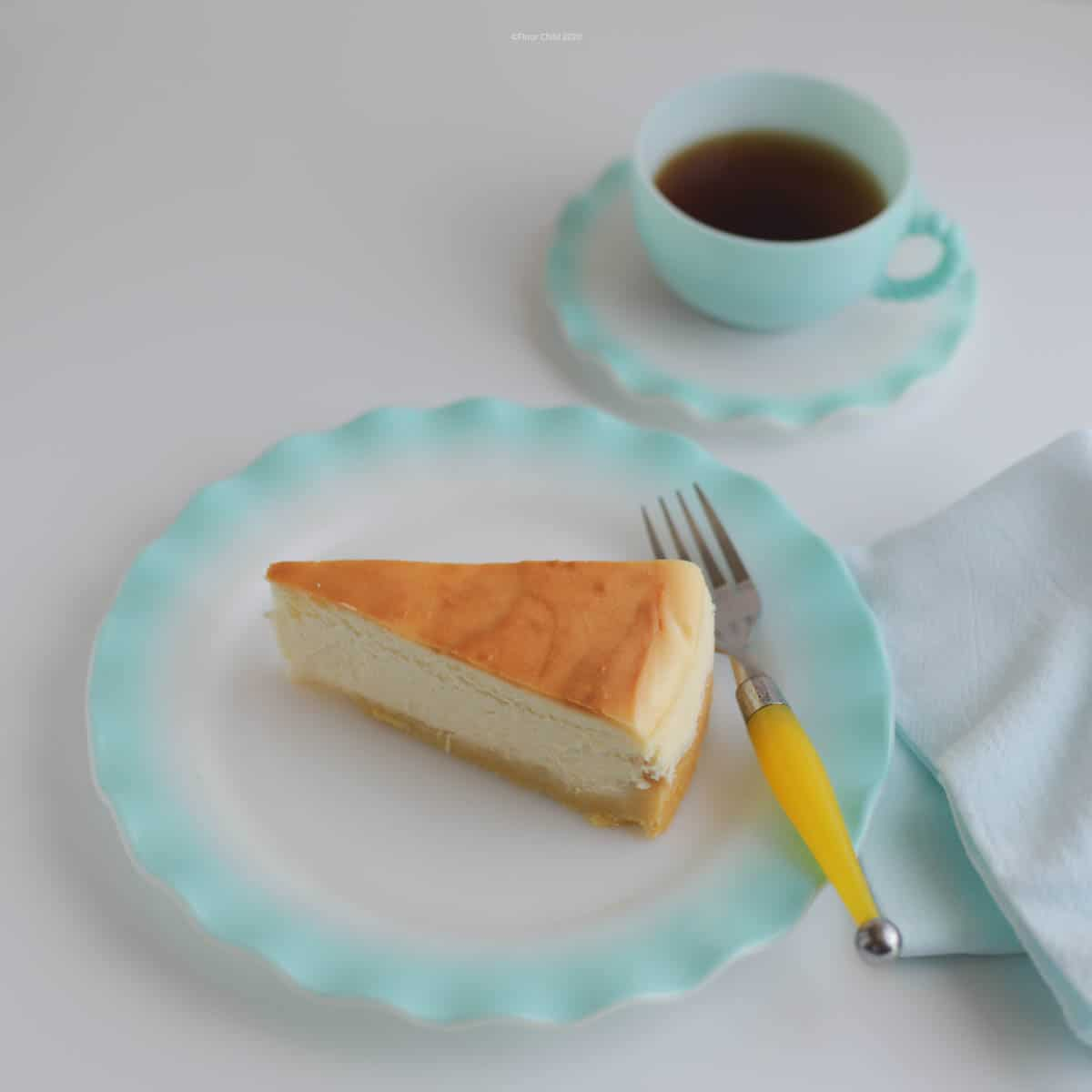 Slice of New York Style Cheesecake with Shortbread Crust