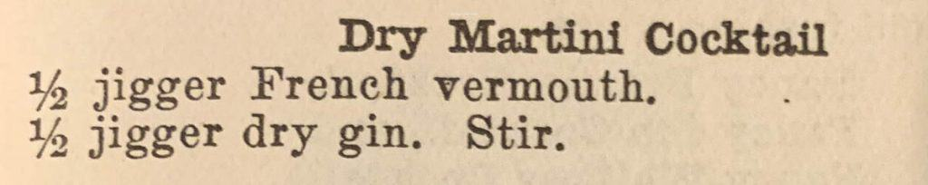 This is a snippet from the 1914 Drinks book for making a dry martini.
