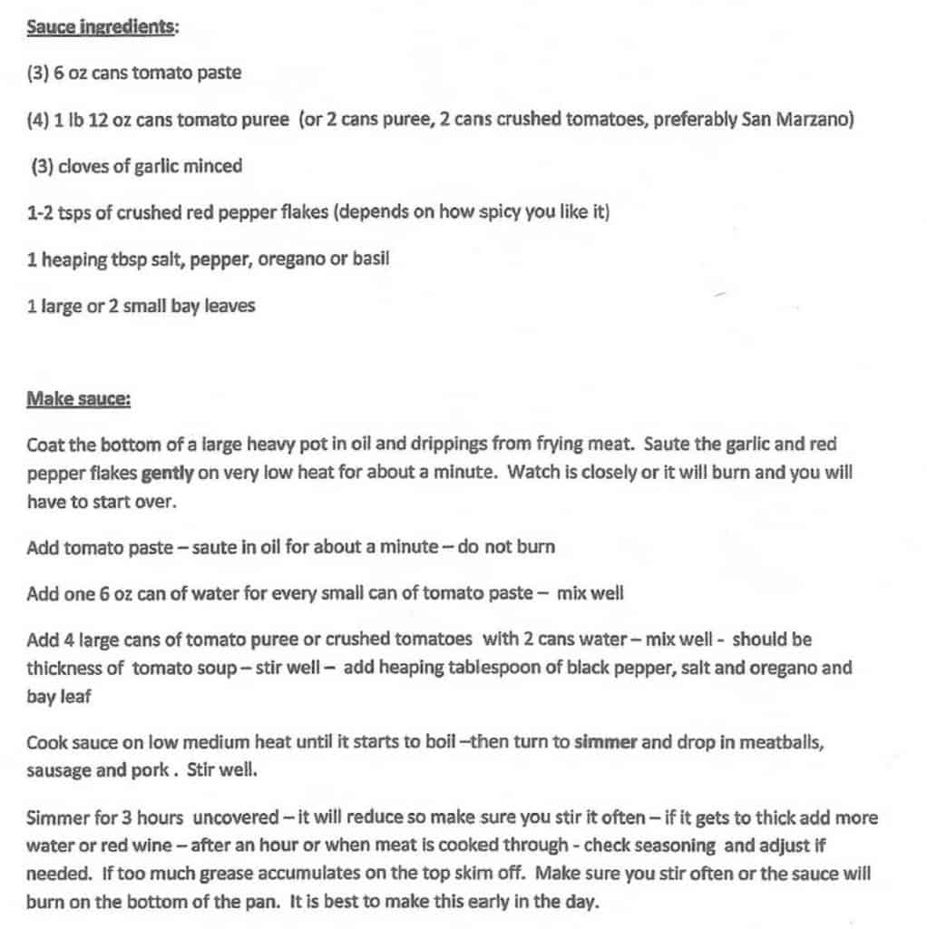 Hand typed recipe for Authentic Italian Sunday Sauce