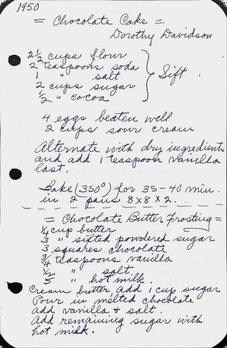 Handwritten chocolate cake recipe dated 1950