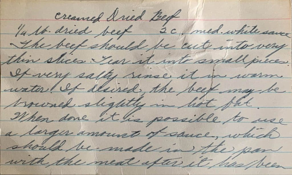 Handwritten index card with creamed chipped beef recipe from the 1950's