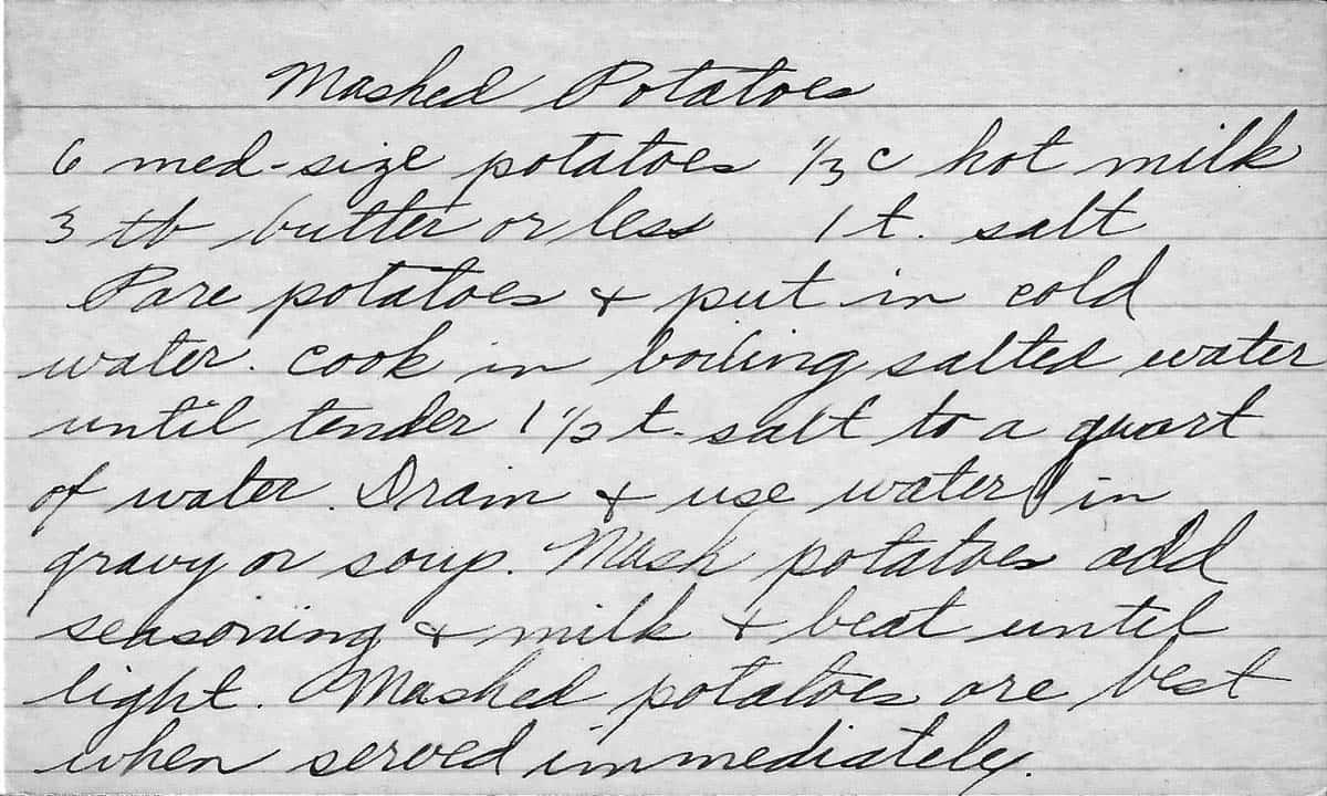 A handwritten recipe card for mashed potatoes
