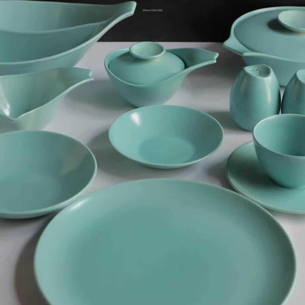 Vintage dishware in blue.