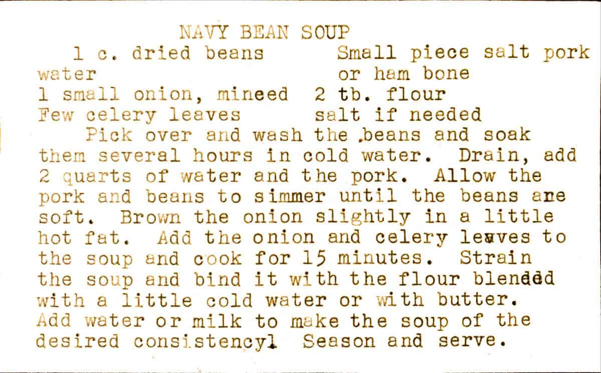 mid century typed recipe card