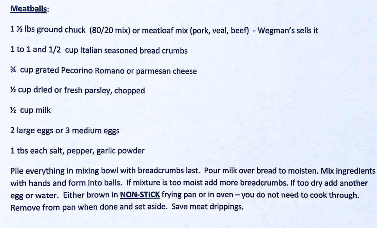Typed Recipe Card with Italian Meatballs Recipe