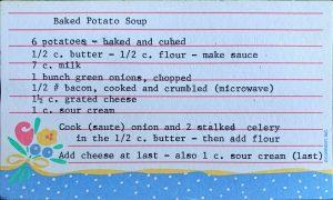Baked potato soup recipe card