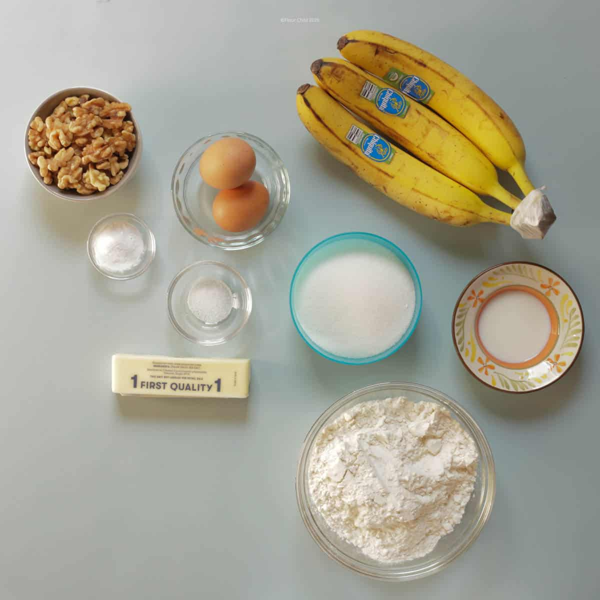 All the ingredients for banana nut bread