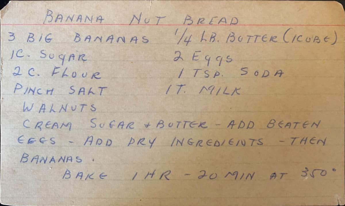 Banana Walnut Bread original handwritten recipe card