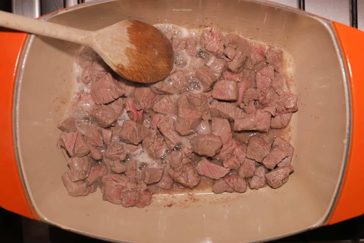 Beef Burgundy Stew Step 2: Add in garlic and saute 1 minute