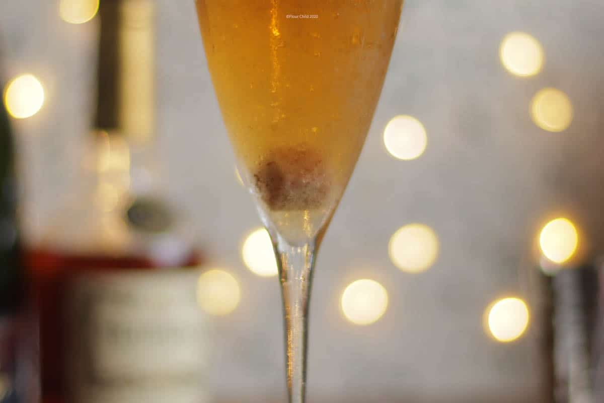 A champagne cocktail featuring the sugar cube.