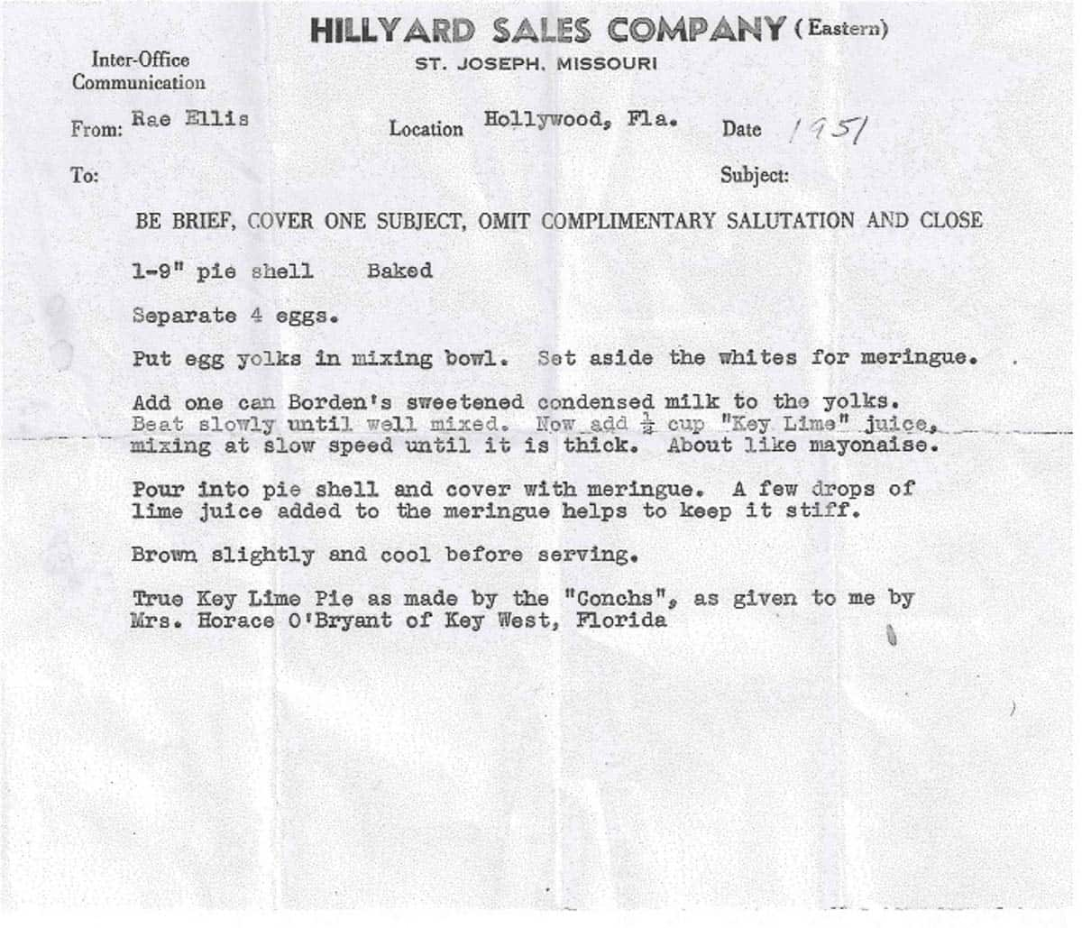 Vintage hand typed recipe for key lime pie