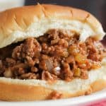 Close up of a sloppy Joe on a bun