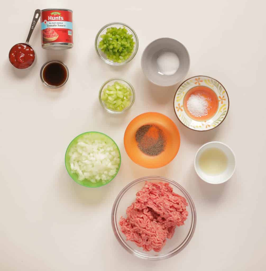 Sloppy Joe Ingredients laid out in individual bowls