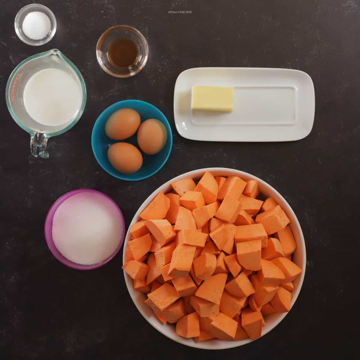 Ingredients for sweet potato casserole