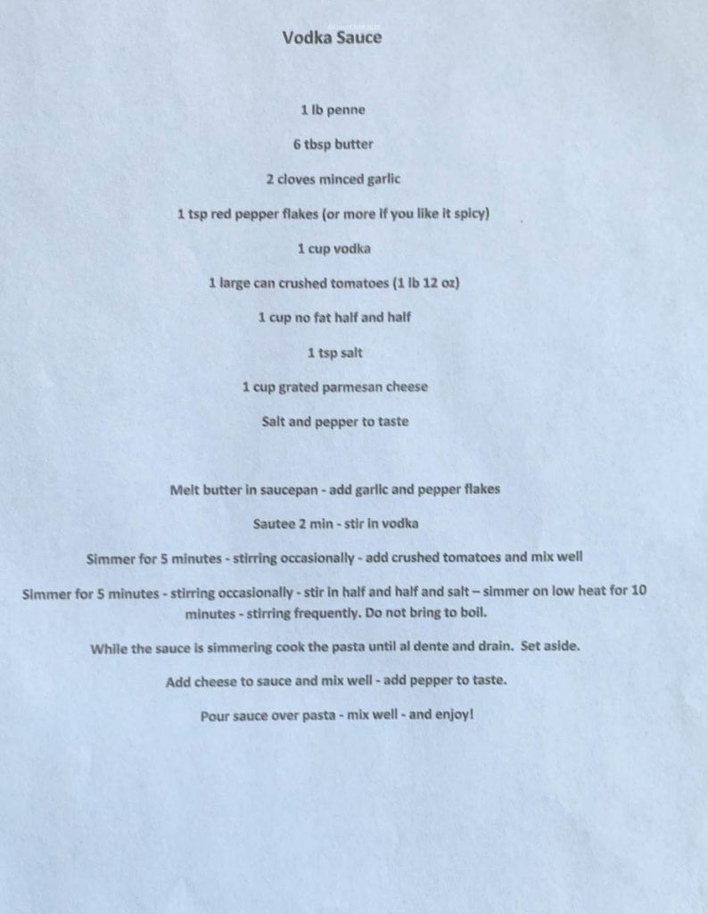 Mary Ann's hand typed recipe for penne in vodka sauce