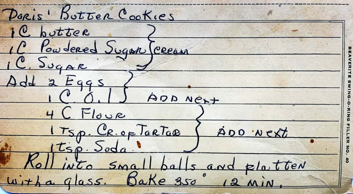 Original mid century handwritten recipe card