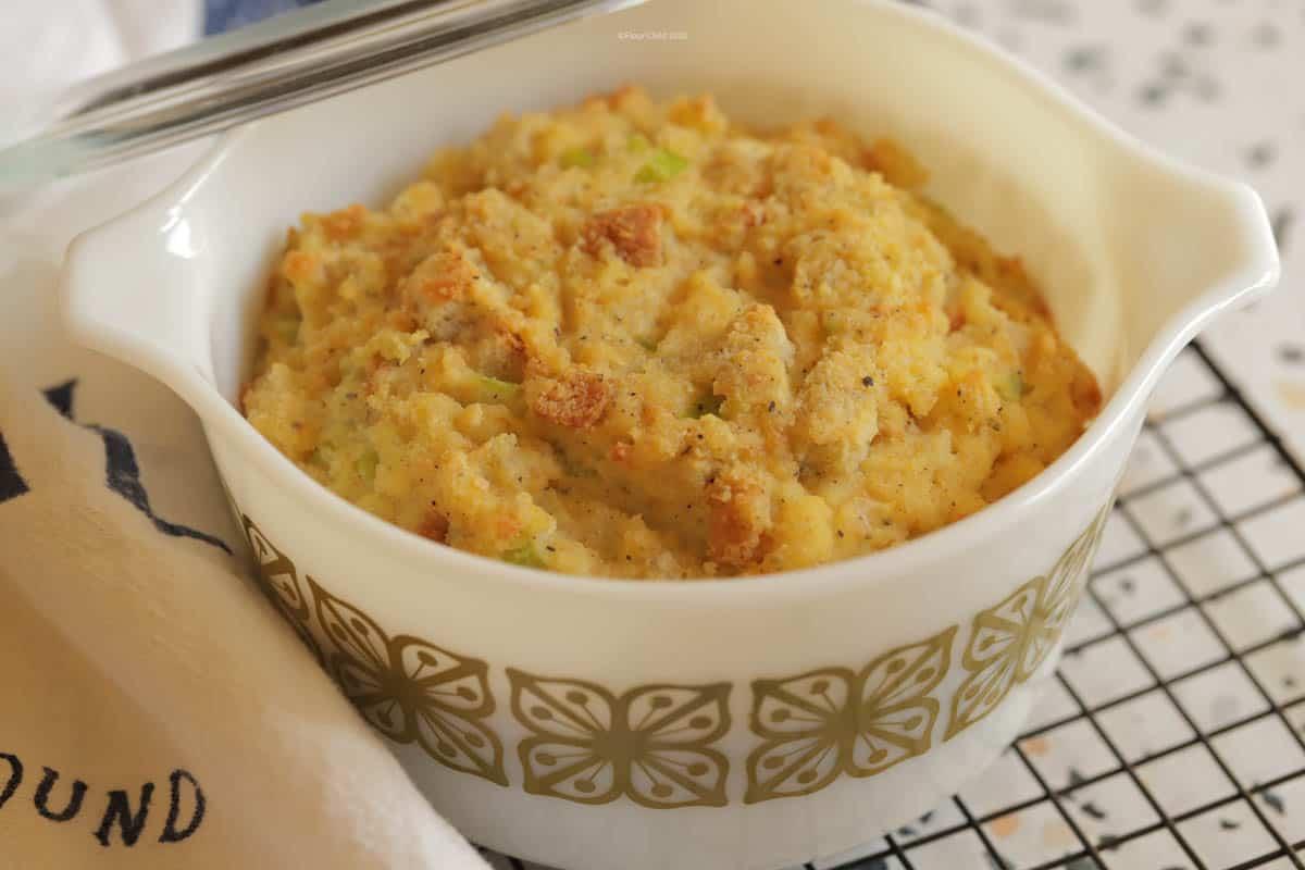 Kentucky cornbread stuffing in a casserole dish