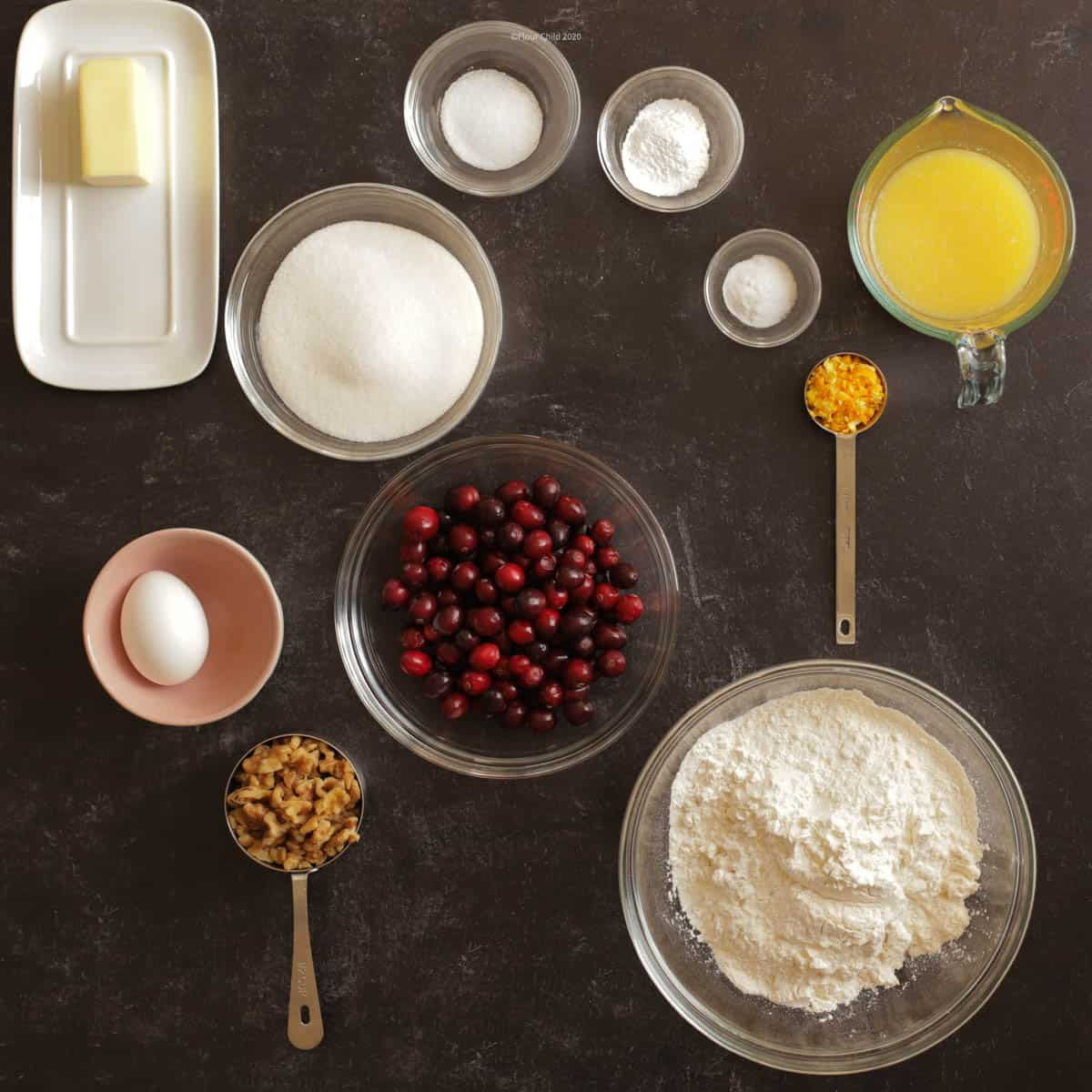 Cranberry Orange Bread ingredients in prep bowls