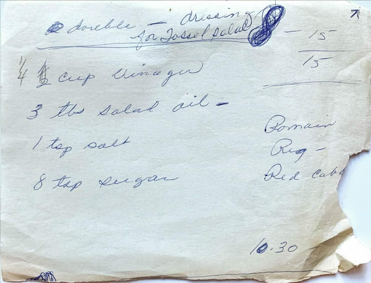 Original handwritten recipe