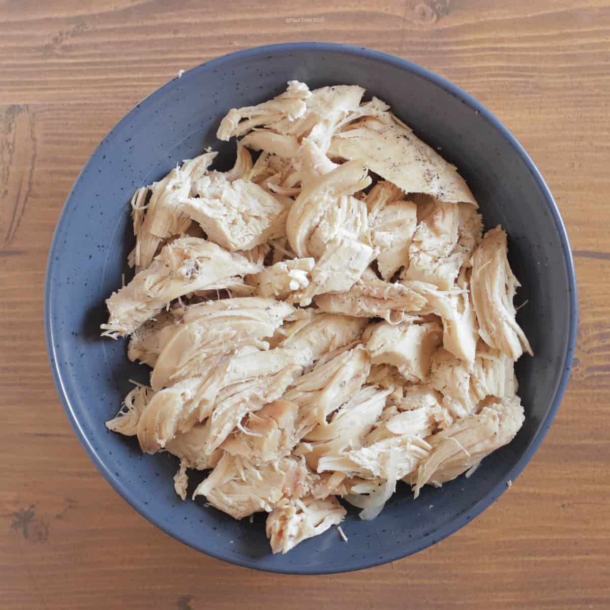 Cooked chicken, cut into serving size bites