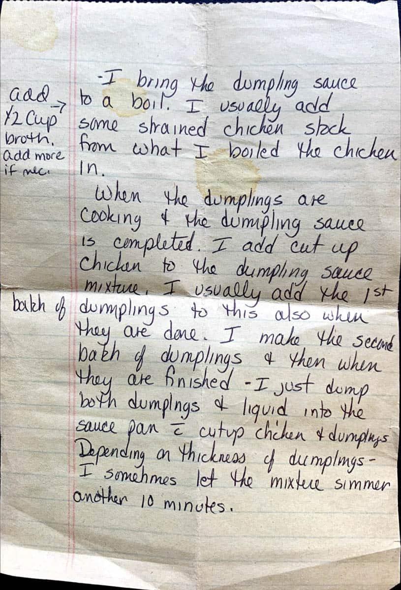 Original handwritten recipe for chicken and dumplings