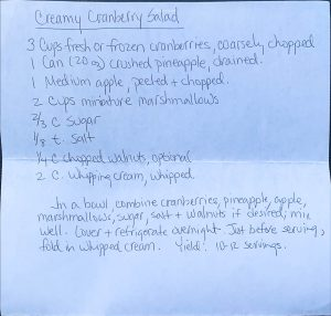 Handwritten Recipe for Cranberry Whipped Cream Salad