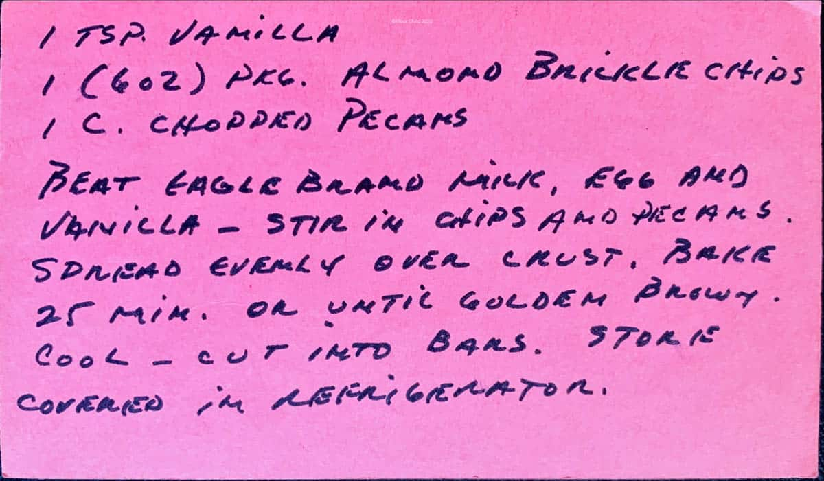 Original hand written recipe for pecan pie bars