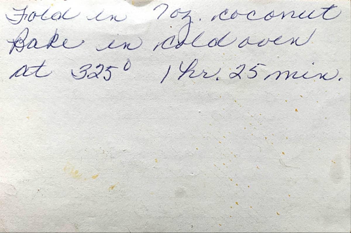 Original handwritten recipe for coconut poundcake, page 2