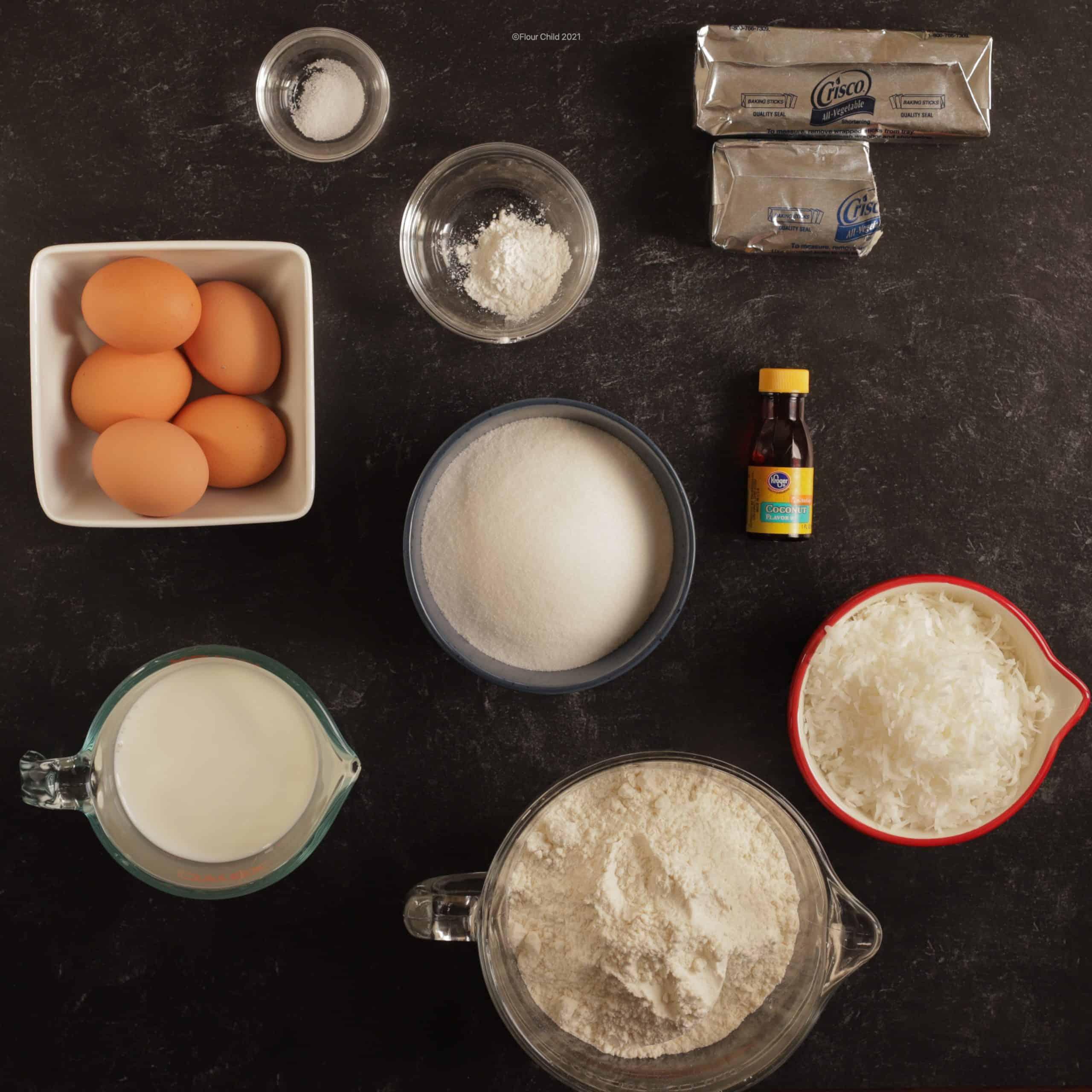 Ingredients for coconut poundcake