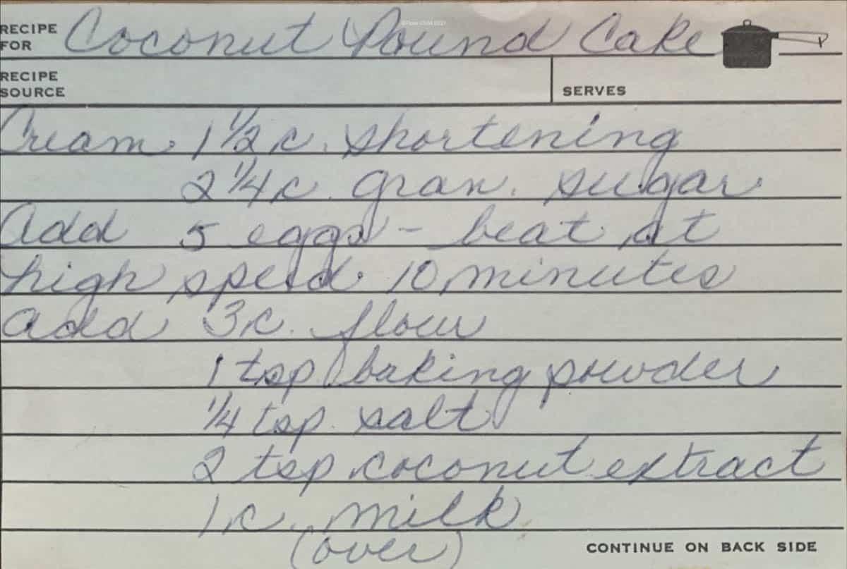 Original handwritten recipe for coconut pound cake, page 1