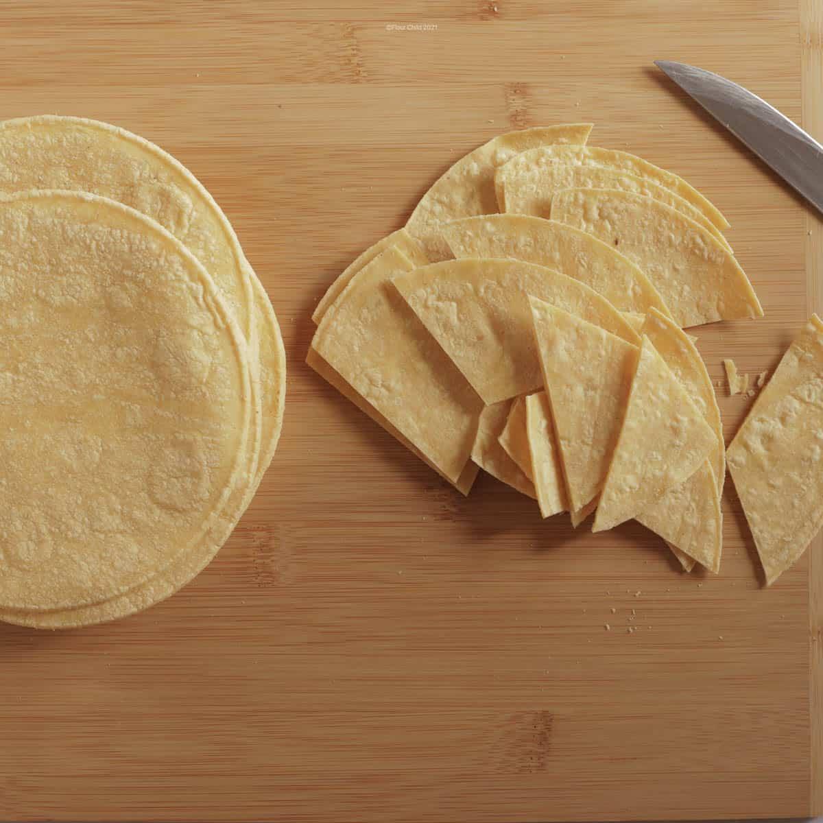 Corn tortillas cut into chip size