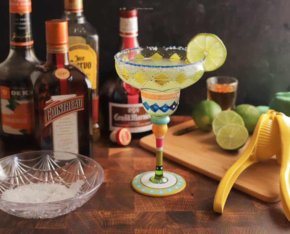 A Margarita in a colorful glass