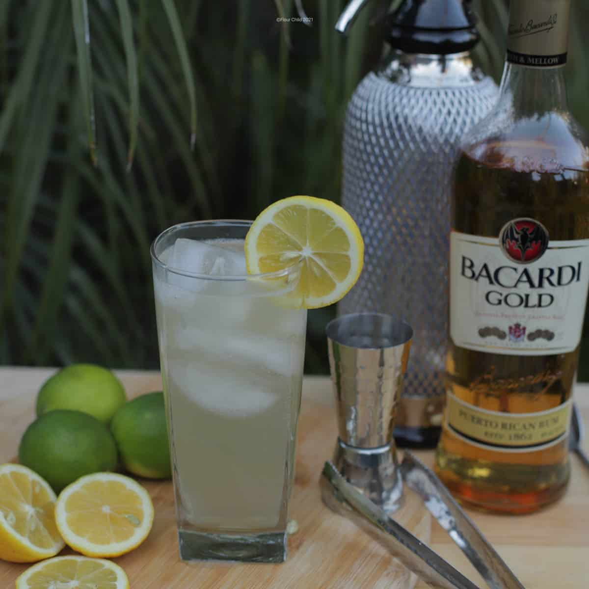 Rum Collins with palm trees and a bottle of rum