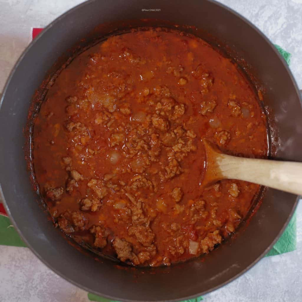 Chili after simmering one hour