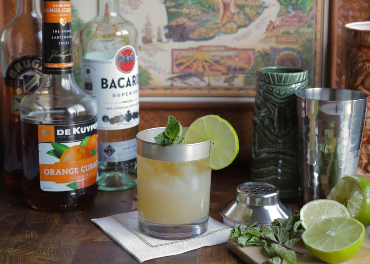 Mai Tai cocktail in highball glass