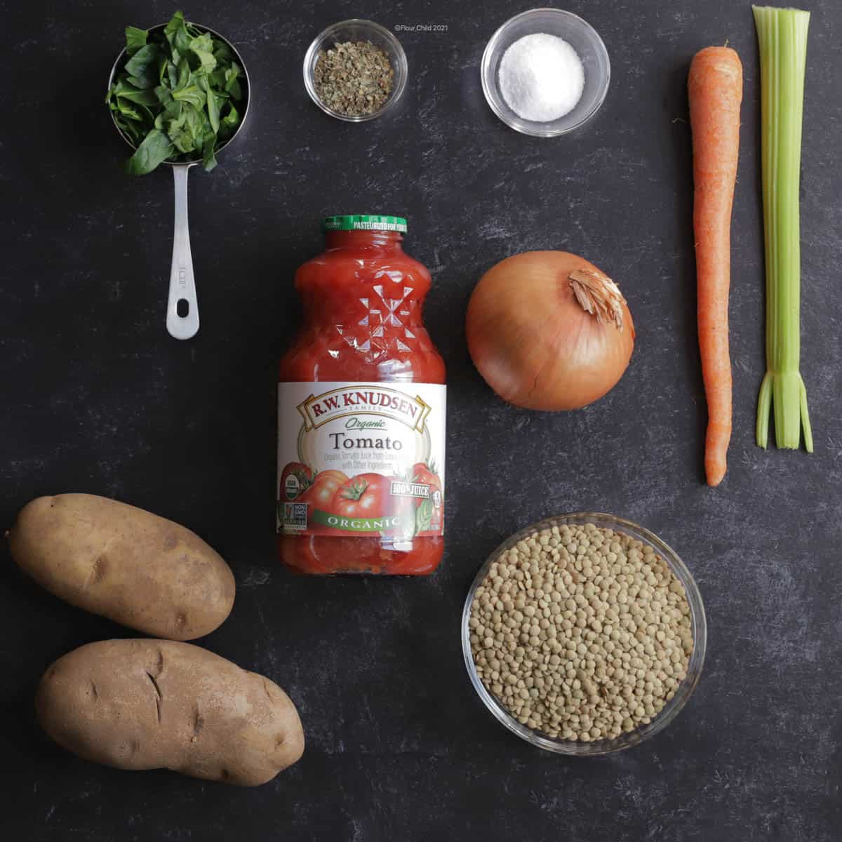 Ingredients for simple lentil soup