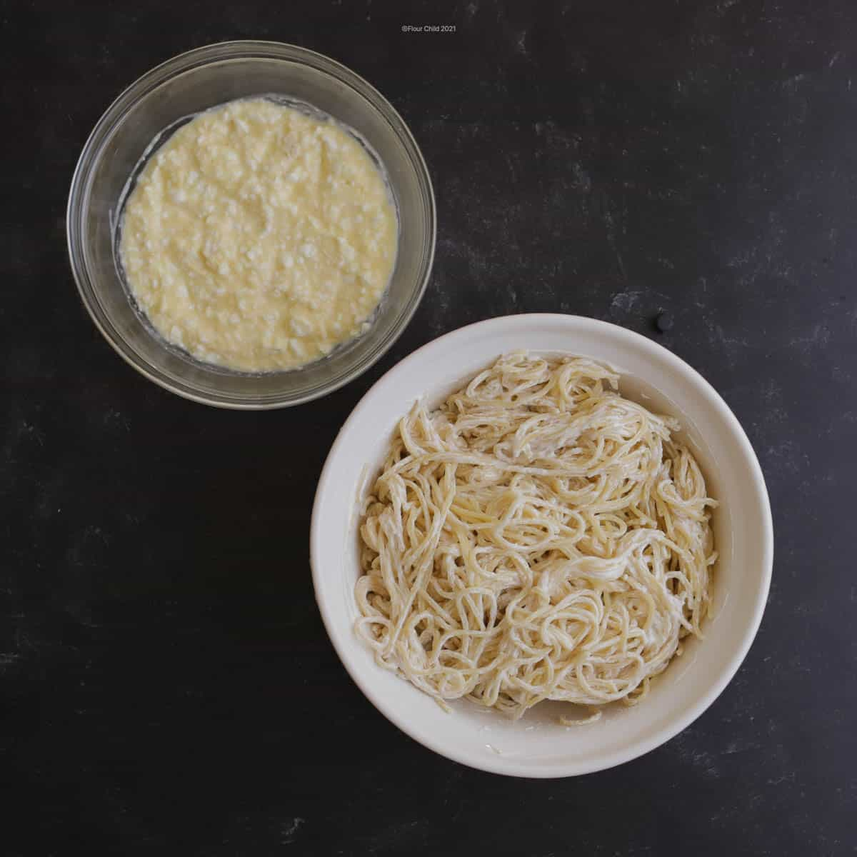 Step 3: Put parmesan in a bowl and ricotta cheese mixture in a separate bowl