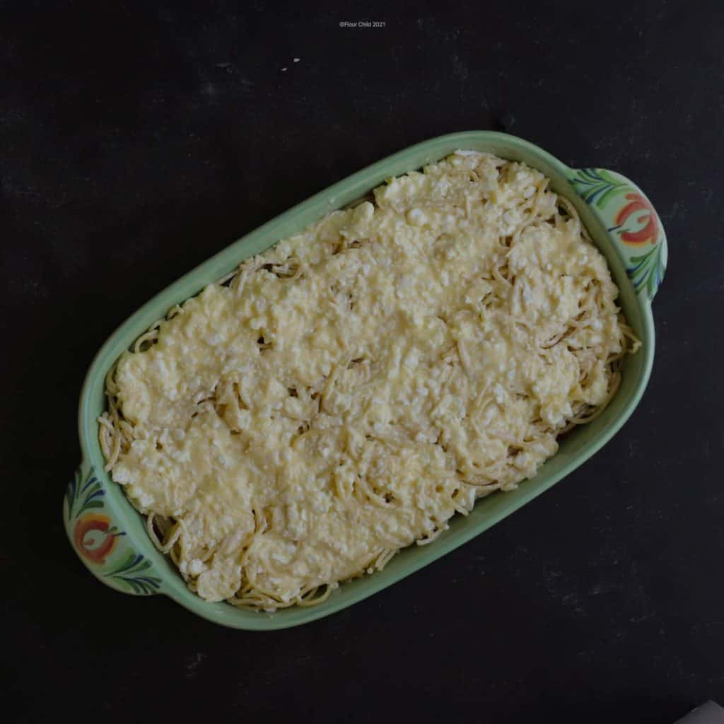 Add a layer of cream cheese mixture over the top