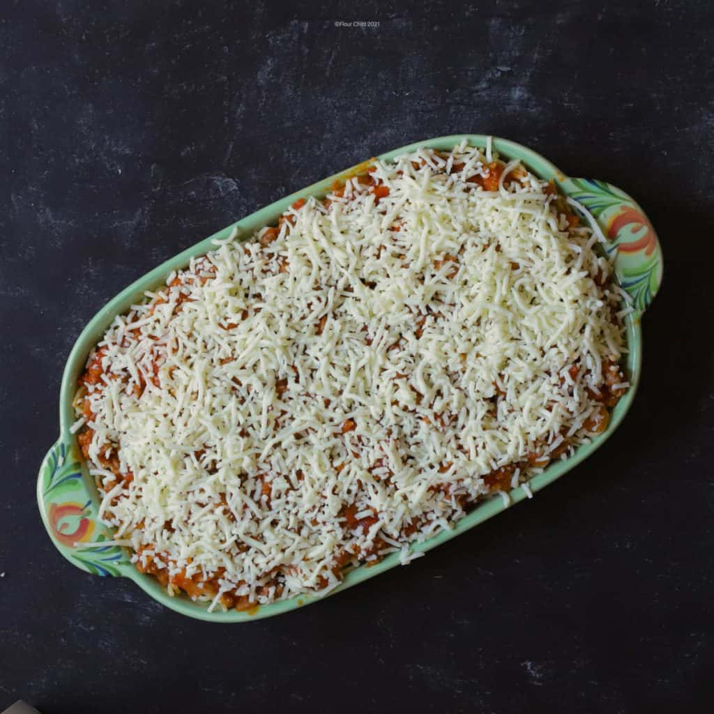Top with the mozzarella