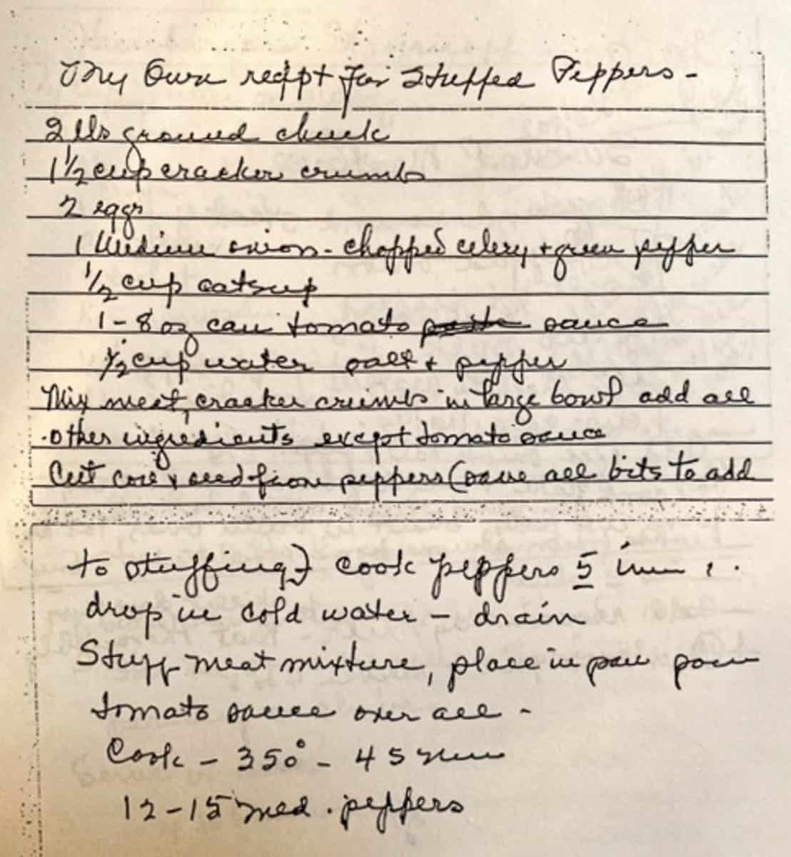 Original handwritten recipe for stuffed peppers