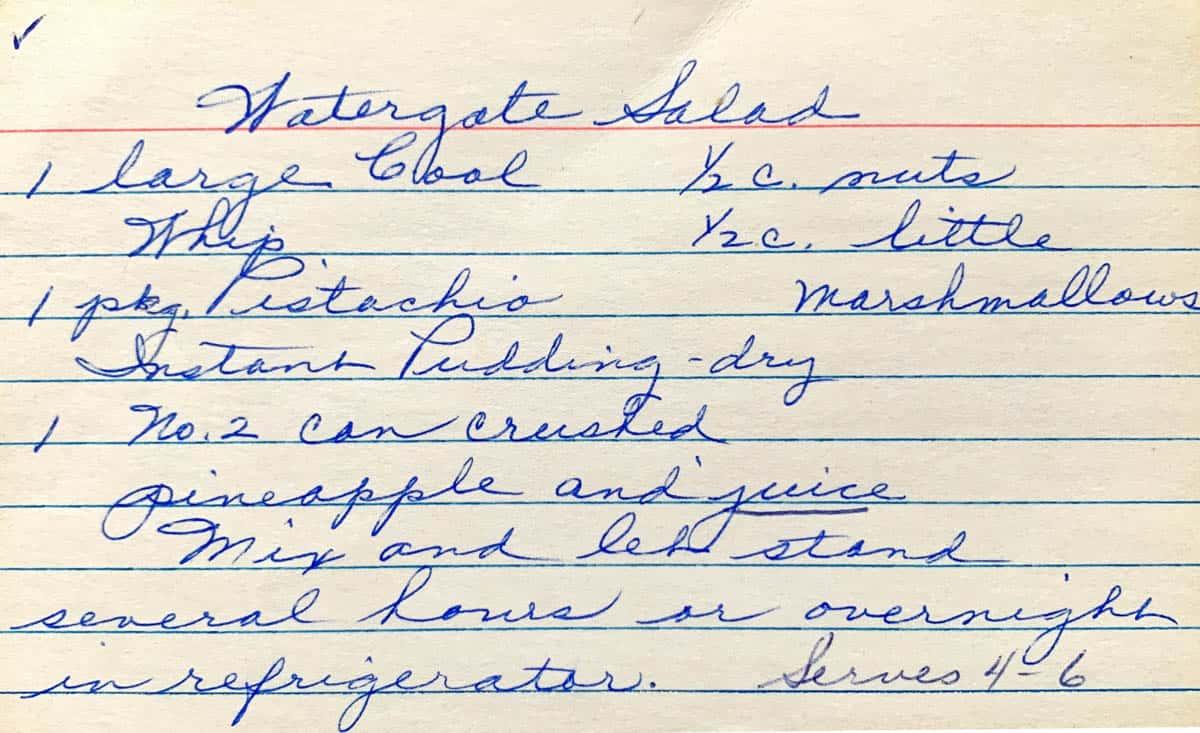 Original hand written recipe for Watergate salad