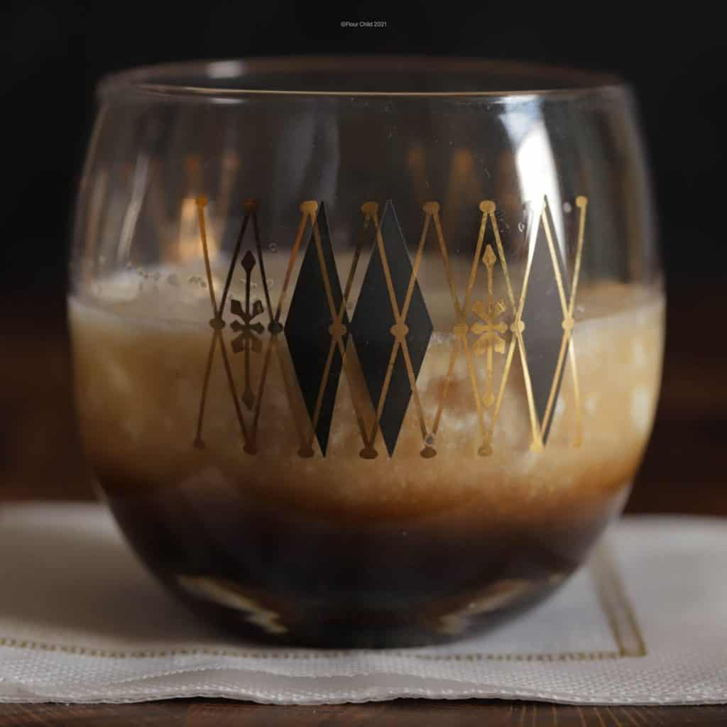 Closeup of a white russian cocktail