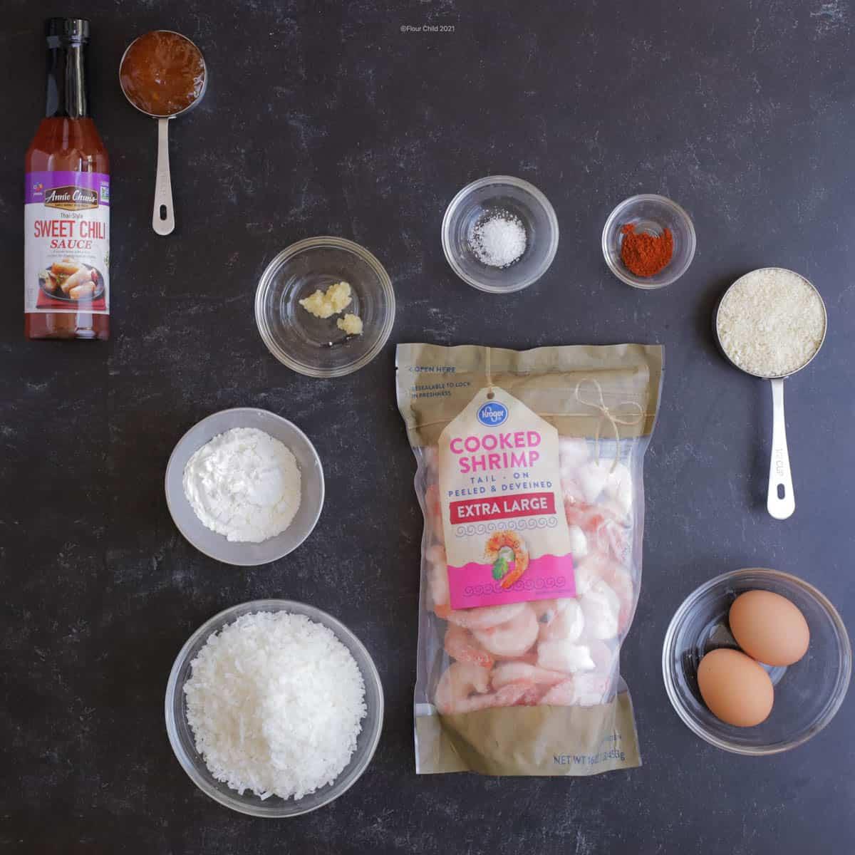 Ingredients for baked coconut shrimp