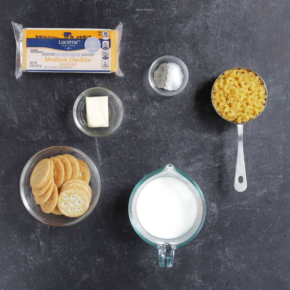 Ingredients for old fashioned macaroni and cheese
